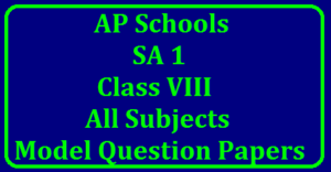 AP SA1 8th Class Maths Question Papers