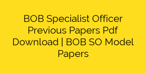 BOB SO Question Papers - PDF